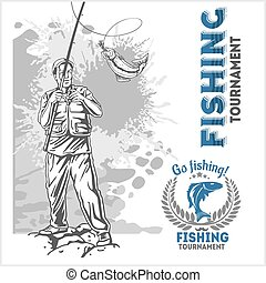 Fishing - fisherman with a fishing rod on grunge background...