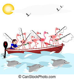 Fishing flamingos