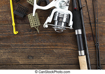 Fishing flat lay background with a copy space.