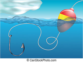 fishing float and hook on water surface