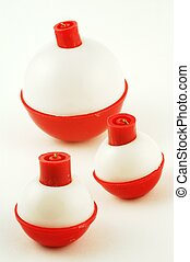 Fishing Floats - Three fishing floats on a white background