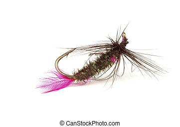 Fishing Fly 2 - Close-up of a colorful fishing fly on a...