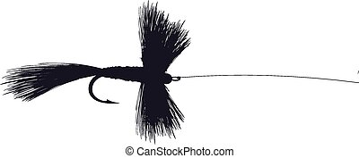 Fishing Fly Lure vector illustration with hook and line