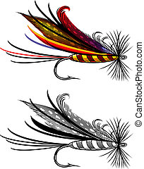 Fishing fly - Vector illustration, isolated, grouped, ...