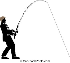 Fishing for business - Editable vector illustration of a...