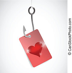 fishing for love concept illustration design
