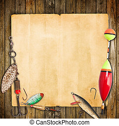 fishing frame - Frame with spinner lures and fishing floats.