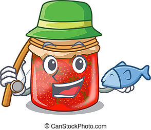 Fishing fresh tasty strawberry jam on mascot vector...