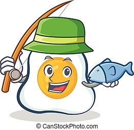 Fishing fried egg character cartoon