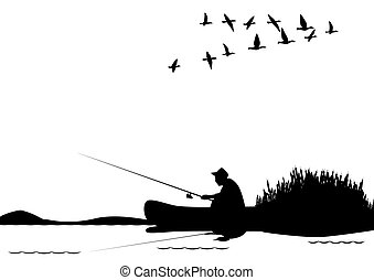 A fisherman with a fishing rod in the boat. The illustration on a white background