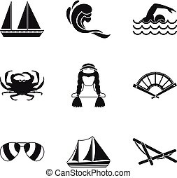 Fishing from a boat icons set, simple style