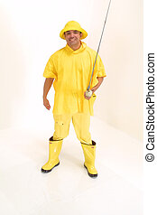 Fishing Fun - Guy in rain gear on white background with...