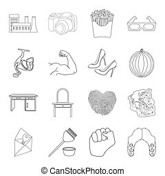 fishing, furniture, fitness and other web icon in outline style.sports, computer, history icons in set collection.
