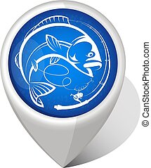 Fishing geo location - Fish and fishing rod symbol geo...
