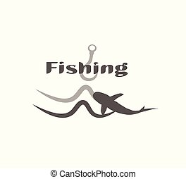 Fishing - gray flat vector logo isolated. Hook and fish in water