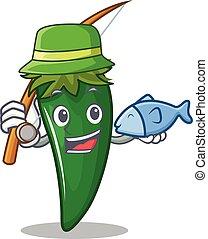Fishing green chili character cartoon