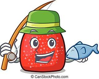 Fishing gumdrop mascot cartoon style vector illustration