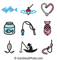 fishing hand drawn icons