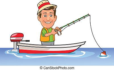 Happy businessman Enjoying holiday fishing on a boat
