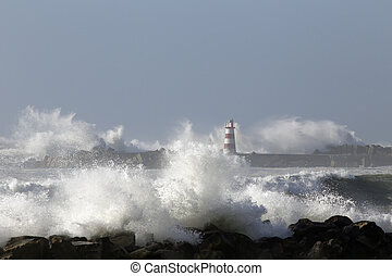 Fishing harbor under heavy storm - Beacon and pier of Povoa ...