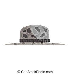 Fishing hat icon, black monochrome style