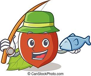 Fishing hazelnut mascot cartoon style