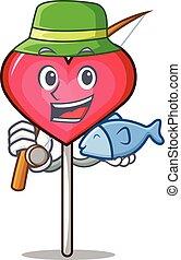 Fishing heart lollipop mascot cartoon vector illustration