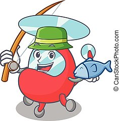 Fishing helicopter mascot cartoon style
