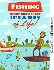 Fishing hobby sport vector cartoon poster