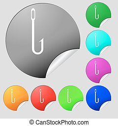 Fishing hook icon sign. Set of eight multi colored round buttons, stickers. Vector