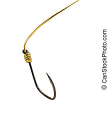 Fishing hook on golden rope