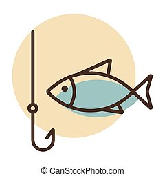 Fishing hook with fish vector icon. Camping sign
