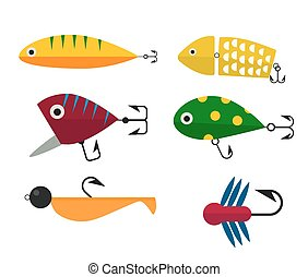 Fishing hooks icons vector illustration