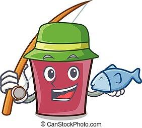Fishing hot chocolate mascot cartoon