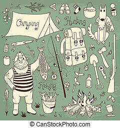 Fishing, hunting, camping set.