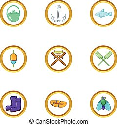 Fishing icon set, cartoon style