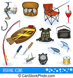 Fishing Icons - Great collection of fishing color icons,...