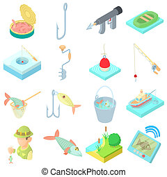 Fishing icons set in cartoon style