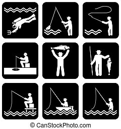 set of vector silhouette icons of fishing