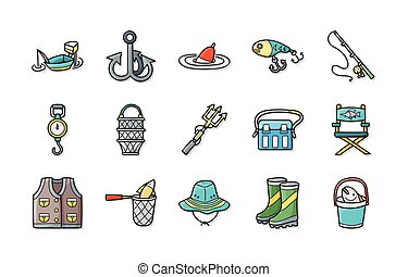 Fishing icons set,eps10
