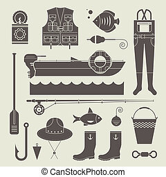 fishing icons - Vector set of various stylized icons for...