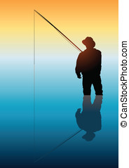 Fishing - Illustration of a man fishing on calm water