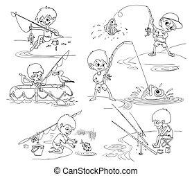 fishing., imágenes, vector, conjunto, niños