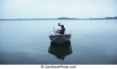 Fishing in boat