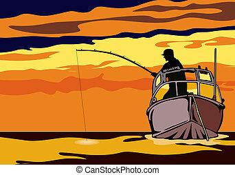 Fishing in the sunse - Illustration on fishing