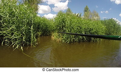 Fishing in the thicket - Time lapse fishing on the river in...