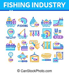 Fishing Industry Business Process Icons Set Vector. Fishing Industry Processing, Boat With Catch, Fish Drying And Froze, Factory Conveyor Concept Linear Pictograms. Color Contour Illustrations