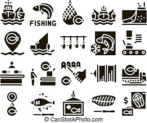 Fishing Industry Business Process Icons Set Vector. Fishing Industry Processing, Boat With Catch, Fish Drying And Froze, Factory Conveyor Glyph Pictograms Black Illustrations