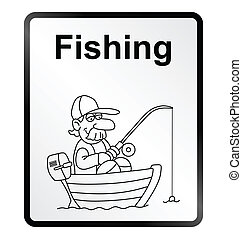 Fishing Information Sign - Monochrome comical fishing public...