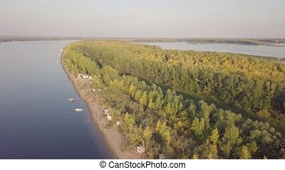 Fishing island aerial - River island with fishing motor...